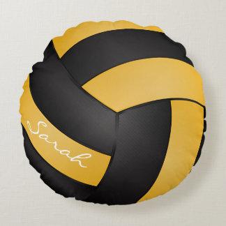 El voleibol amarillo y negro de oro el | cojín redondo