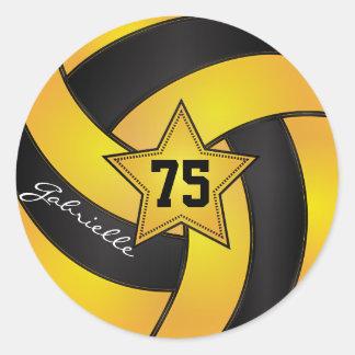 El voleibol amarillo y negro de oro el   pegatinas redondas