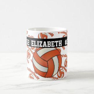 El voleibol anaranjado el   personaliza taza clásica