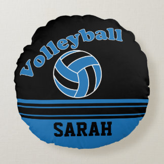 El voleibol azul y negro el | personaliza cojín redondo