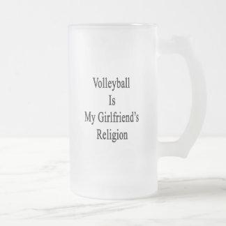 El voleibol es la religión de mi novia taza cristal mate