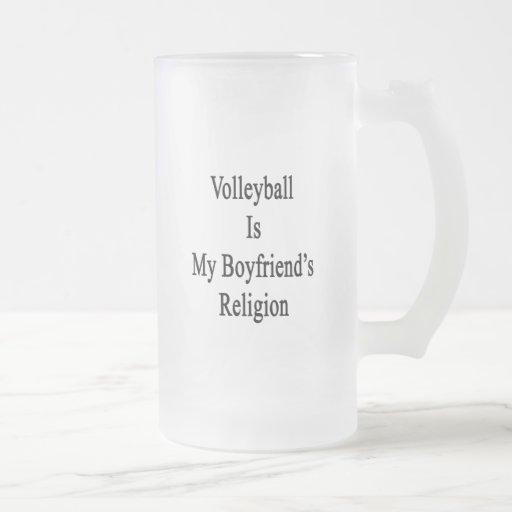 El voleibol es la religión de mi novio taza cristal mate