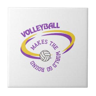 El voleibol hace que el mundo va alrededor azulejo cuadrado pequeño