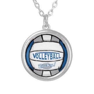 El voleibol oscila el azul y la plata collar plateado