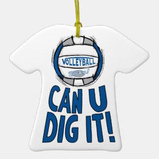 El voleibol oscila el azul y la plata adorno de cerámica en forma de camiseta