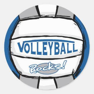 El voleibol oscila el azul y la plata etiquetas redondas