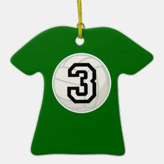 El voleibol se divierte personalizado del número 3 adorno de navidad