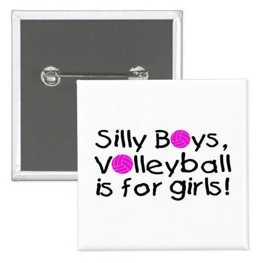 El voleibol tonto de los muchachos está para los c pin cuadrada 5 cm
