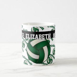 El voleibol verde oscuro el   personaliza taza