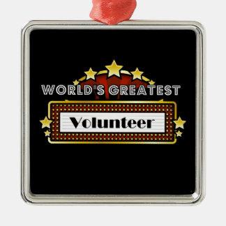 El voluntario más grande del mundo adorno navideño cuadrado de metal