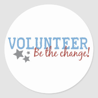 El voluntario sea el cambio pegatina redonda