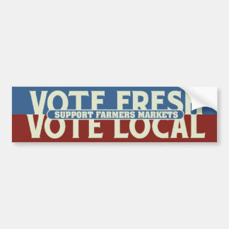 El voto fresco, vota mercados de los granjeros de  etiqueta de parachoque