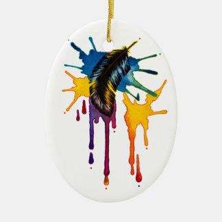 El vuelo de la imaginación adorno navideño ovalado de cerámica