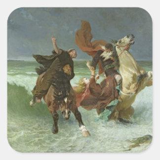 El vuelo de Mawr c.1884 de Gradlon Pegatina Cuadrada