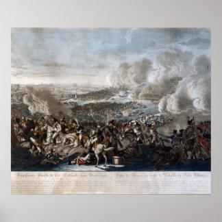 El vuelo de Napoleon de la batalla de Waterloo Póster