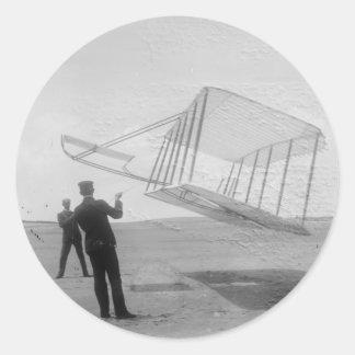 El vuelo de prueba de los hermanos de Wright Pegatina Redonda