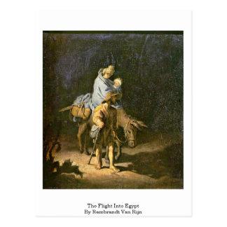 El vuelo en Egipto de Rembrandt Van Rijn Postal