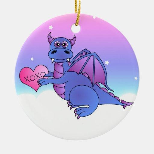 El vuelo lindo del dragón le ama - azul/púrpura ornamentos de reyes