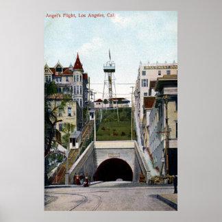 El vuelo Los Ángeles del ángel del vintage Poster
