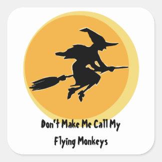 El vuelo Monkeys a la bruja (el personalizable) Pegatina Cuadrada