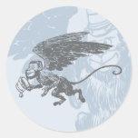 El vuelo Monkeys a la criatura de la fantasía del Etiquetas Redondas