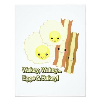 """el wakey del wakey eggs bakey de n invitación 4.25"""" x 5.5"""""""