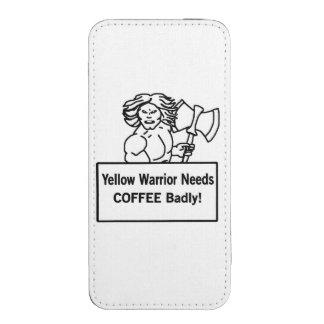 El warrioe amarillo necesita el café gravemente bolsillo para iPhone