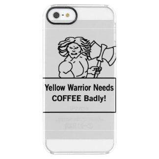 El warrioe amarillo necesita el café gravemente funda clearly™ deflector para iPhone 5 de uncommon
