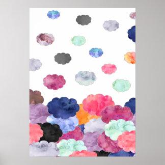 El watercolour caprichoso multicolor se nubla el póster
