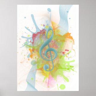 El watercolour colorido fresco salpica notas de la póster