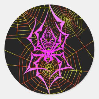 El Web de araña Pegatina Redonda