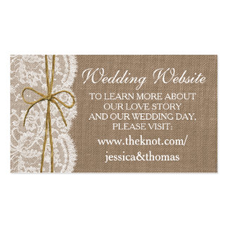 El Web site rústico de la colección del boda del Tarjetas De Visita