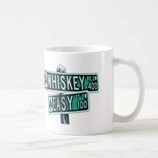 El whisky montó y Easy Street 2 Taza Básica Blanca