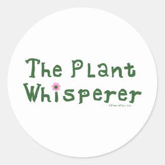 El whisperer de la planta pegatina redonda