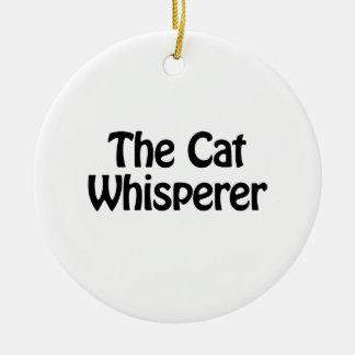 el whisperer del gato adorno navideño redondo de cerámica