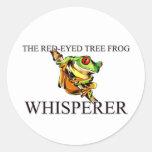 El Whisperer Rojo-Observado de la rana arbórea Pegatinas Redondas