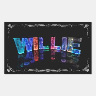 El Willie conocido - nombre en las luces Pegatina Rectangular