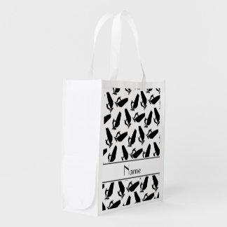 El windsurfing negro blanco conocido personalizado bolsa para la compra