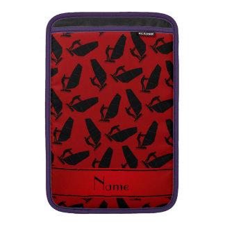 El windsurfing negro rojo conocido personalizado funda macbook air