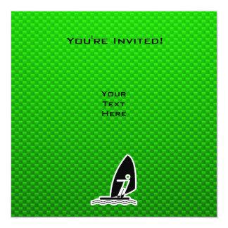 """El Windsurfing verde Invitación 5.25"""" X 5.25"""""""