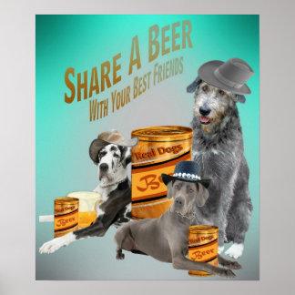 El Wolfhound irlandés de great dane comparte una c Posters