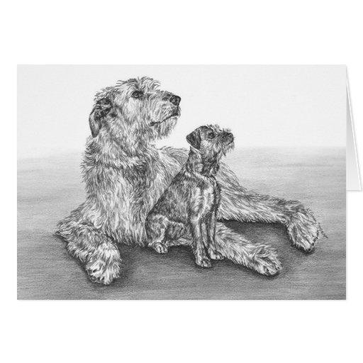 El Wolfhound irlandés persigue el dibujo por el ci Tarjeta Pequeña