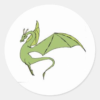 El Wyrm (verde) Pegatina Redonda