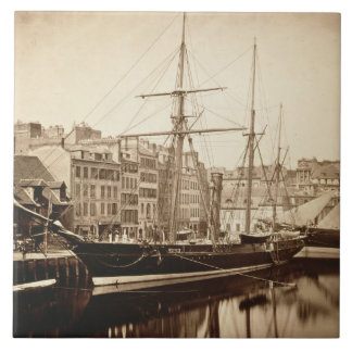 """El yate imperial """"La Reine Hortense"""" en Le Havre Azulejo Cuadrado Grande"""