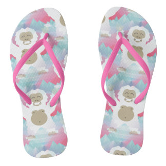 el yeti rosado calza flips-flopes de las sandalias