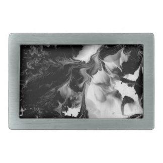 EL YIN y YANG (arte abstracto negro y blanco) ~. Hebilla De Cinturón Rectangular