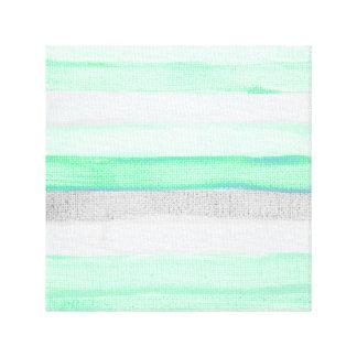 El yute gris verde moderno de la acuarela raya el impresiones en lona