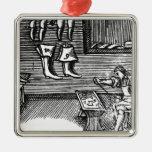 El zapatero adorno navideño cuadrado de metal