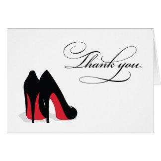 El zapato rojo le agradece tarjeta pequeña