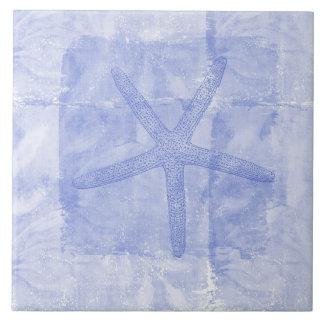 El zen inspiró estrellas de mar del tema de la pla azulejo cuadrado grande